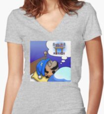 Dreaming Mario Women's Fitted V-Neck T-Shirt