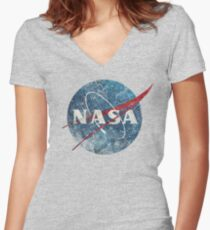 NASA Space Agency Ultra-Vintage Women's Fitted V-Neck T-Shirt