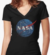 NASA Vintage Emblem Women's Fitted V-Neck T-Shirt
