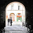 Bicycles in the yard and two men by Giuseppe Cocco