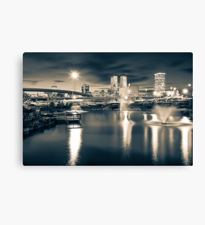 Tulsa Lights - Centennial Park View  Sepia Canvas Print