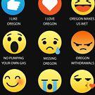 I Love Oregon Fifty Nifty United States Emoji Emoticon Graphic Tee Shirt by DesIndie