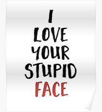 Ich liebe dein dummes Gesicht - Liebe Valentines Zitat Poster