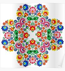 Abstract Needle Point Floral Poster