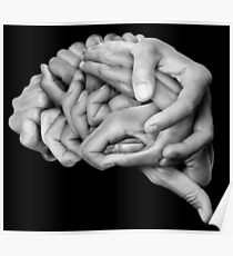 Human brain made with hands Poster