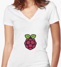 Raspberry Pi Logo Women's Fitted V-Neck T-Shirt