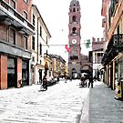 Street view with tower by Giuseppe Cocco
