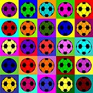 Colorful football in pop art style by pixxart