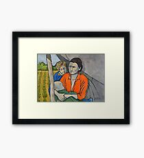 Migrant Family Under Tarp Framed Print