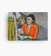 Migrant Family Under Tarp Canvas Print