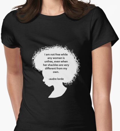 Audre Lorde Silhouette (white) Womens Fitted T-Shirt