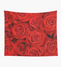 Red Spectacular Roses Wall Tapestry
