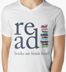 Read Because Books are Brain Food Reading Rocks Literary Tee Men's V-Neck T-Shirt