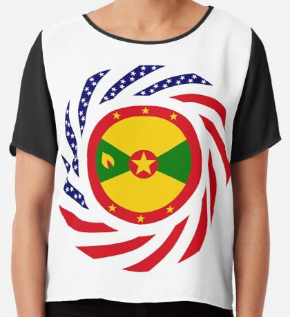 Grenadian American Multinational Patriot Flag Series Chiffon Top