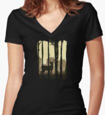 Beautiful Deer on Field Scene Illustration Brushstroke I Women's Fitted V-Neck T-Shirt