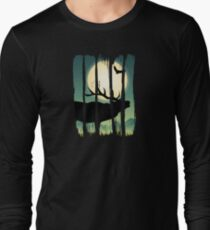 Beautiful Deer on Field Scene Illustration Brushstroke II Long Sleeve T-Shirt