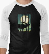 Beautiful Deer on Field Scene Illustration Brushstroke II Men's Baseball ¾ T-Shirt