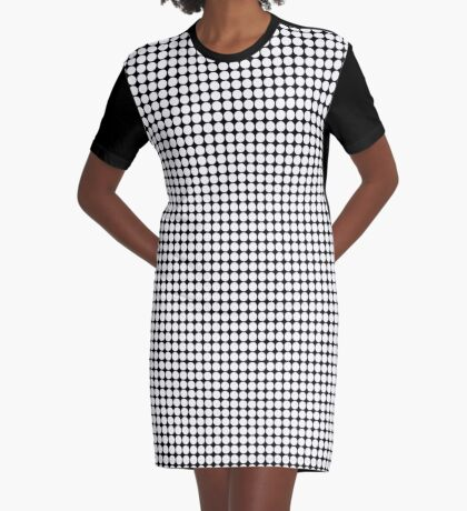 White Polka Dots  Graphic T-Shirt Dress