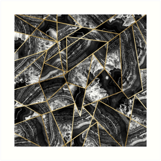 Black white agate black gold geometric triangles by blkstrawberry