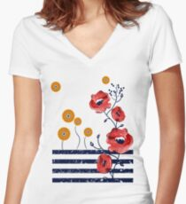 Awesome Poppies T-Shirt Women's Fitted V-Neck T-Shirt