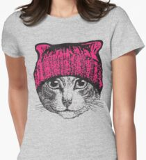 Pussyhat Protest Shirt - Women's March Pussycat Pink Hat Shirt Women's Fitted T-Shirt