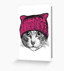 Pussyhat Protest Shirt - Women's March Pussycat Pink Hat Shirt Greeting Card