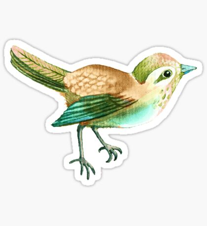 Chestnut Songbird Floral on Sage Green Sticker