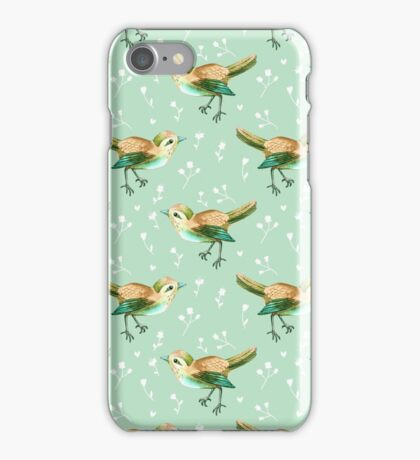 Chestnut Songbird Floral on Sage Green iPhone Case/Skin