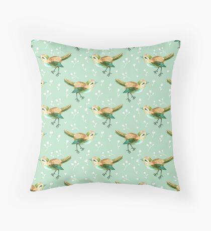 Chestnut Songbird Floral on Sage Green Throw Pillow