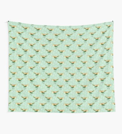 Chestnut Songbird Floral on Sage Green Wall Tapestry