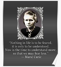 Madame Curie Quote on Fear Poster