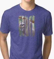 Beautiful Happy Sloth Hanging on the Tree Scene Illustration Brushstroke I Tri-blend T-Shirt