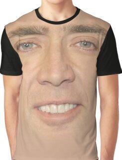 Nicholas Cage Face Pattern Graphic T-Shirt