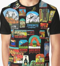 National Parks Vintage Travel Decal Bomb Graphic T-Shirt