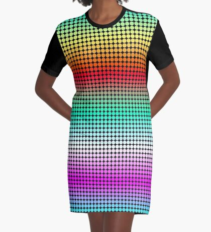 Rainbow Polka Dots Graphic T-Shirt Dress
