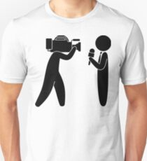 Reporter speaks in front of camera Unisex T-Shirt