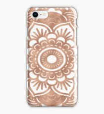 Rose gold mandala on white iPhone Case/Skin