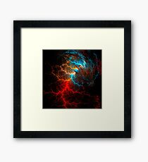 Realistic effect of electrical discharge on a black background Framed Print