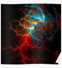 Realistic effect of electrical discharge on a black background Poster