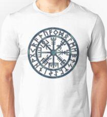 Vegvísir (Icelandic 'sign post') Symbol - BLUE GRUNGE T-Shirt