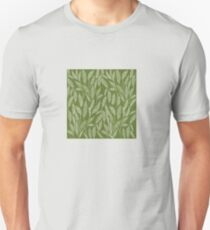 White sketched leaves on deep green background Unisex T-Shirt