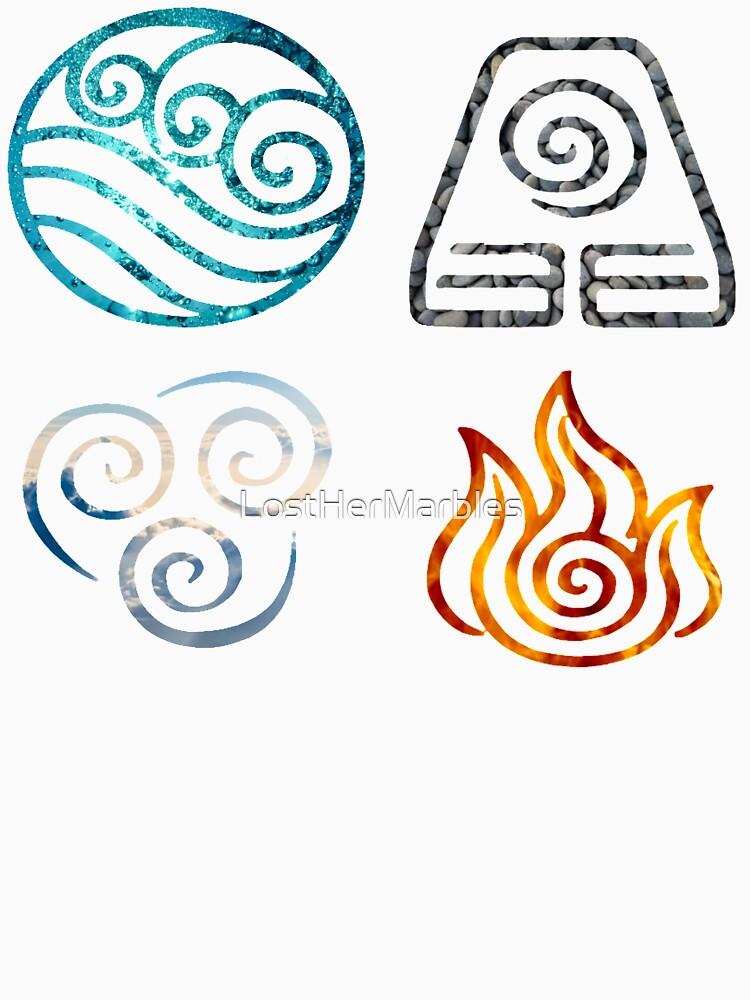 Avatar die letzten Airbender Element Symbole von LostHerMarbles