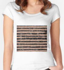 Rose gold foil stripes over black marble Women's Fitted Scoop T-Shirt