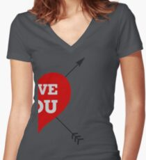 Couple Love - Half Heart Women's Fitted V-Neck T-Shirt