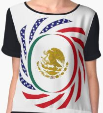 Mexican American Multinational Patriot Flag Series 1.0 Chiffon Top