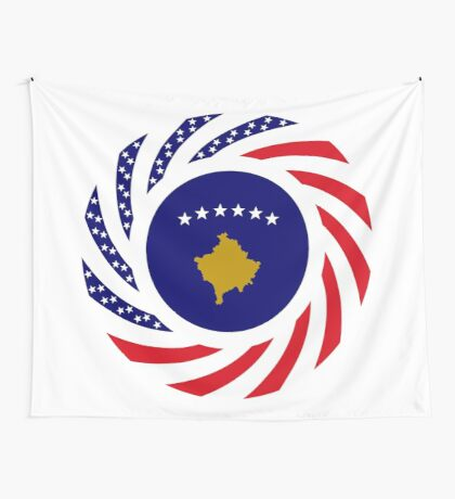 Kosovar American Multinational Patriot Flag Series Wall Tapestry