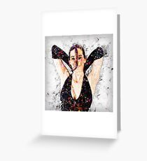 Digitally enhanced image of a 30 year old woman in black top Greeting Card