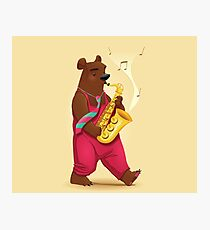 Bear Playing Saxophone Photographic Print