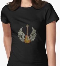 wings guitar rock Womens Fitted T-Shirt
