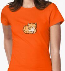 Sleeping orange & white pussy cat Womens Fitted T-Shirt